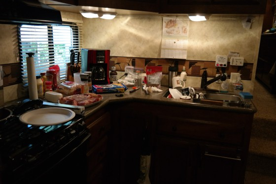 My Mom's little kitchen she is cooking in until their house is built